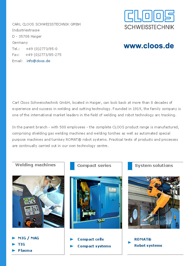 Carl Cloos Schweisstechnik Welding and cutting technology shielding